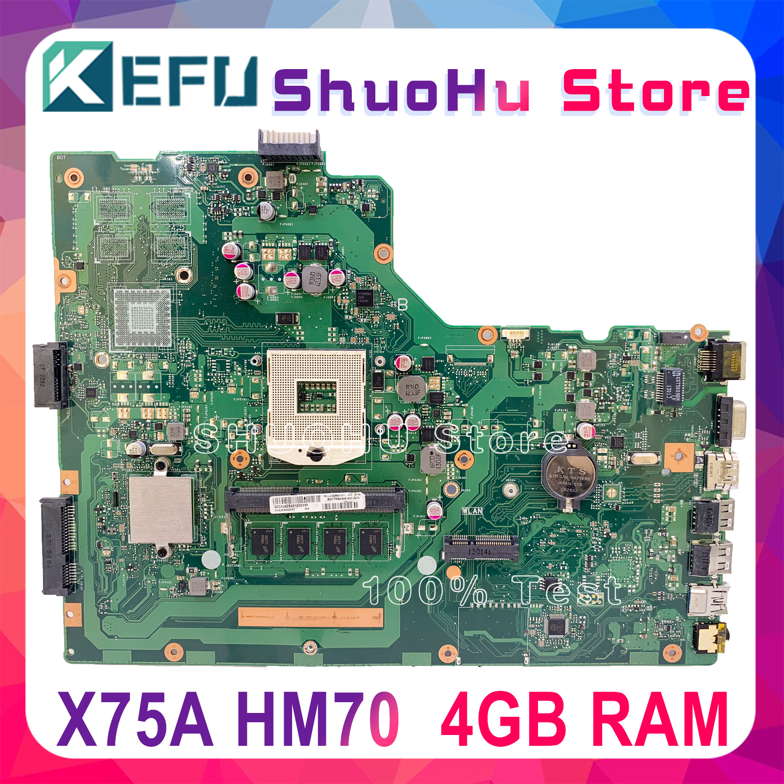KEFU X75A Motherboard For ASUS X75VB  X75A X75VD X75V X75VC Laptop Motherboard HM70 4GB Memory Tested 100% Work Original