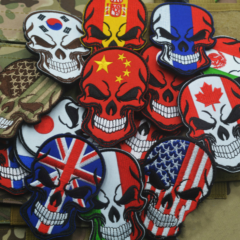 Embroidery Patch Hook Matte Isomorphism Velcro Skull National Flag Embroidery Velcro Stick Cartoon Skull Cloth Patch Patch Armba