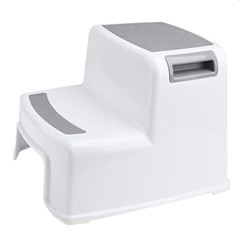 Promotion! Wide+2 Step Stool For Kids Toddler Stool For Toilet Potty Training Slip Resistant Soft Grip For Safe As Bathroom Pott