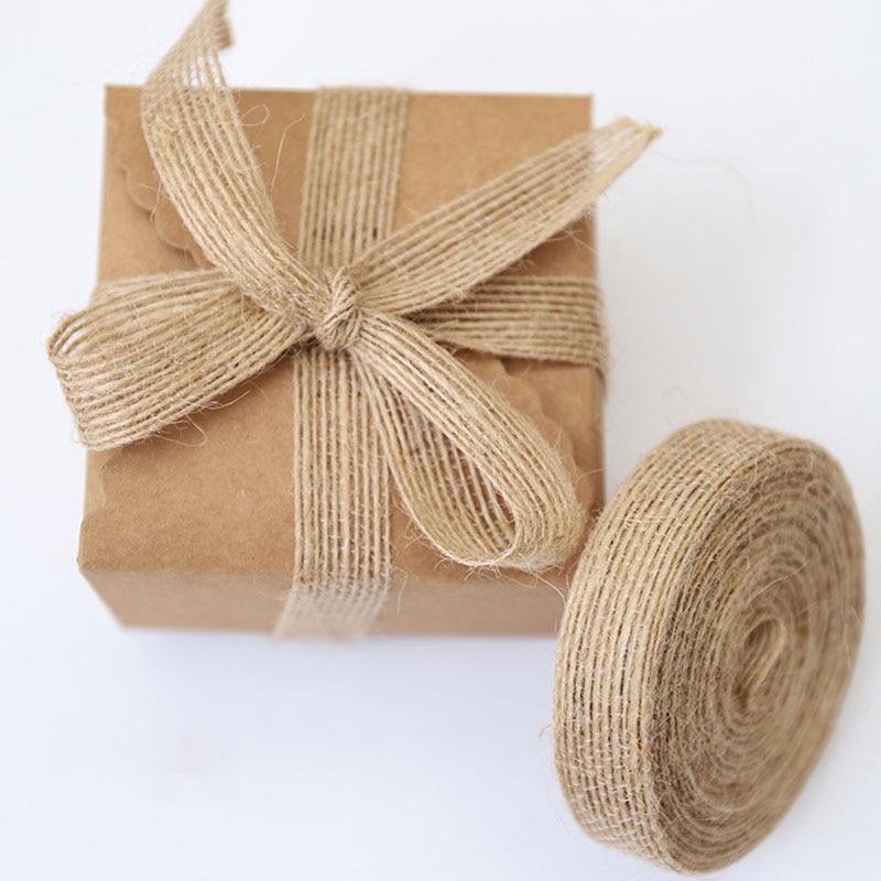 5m Natural Hemp Rope Ribbon Line Trim Tape Roll Burlap Line Tape Roll Ribbon Vintage Rustic Wedding Party Decoration Supplies