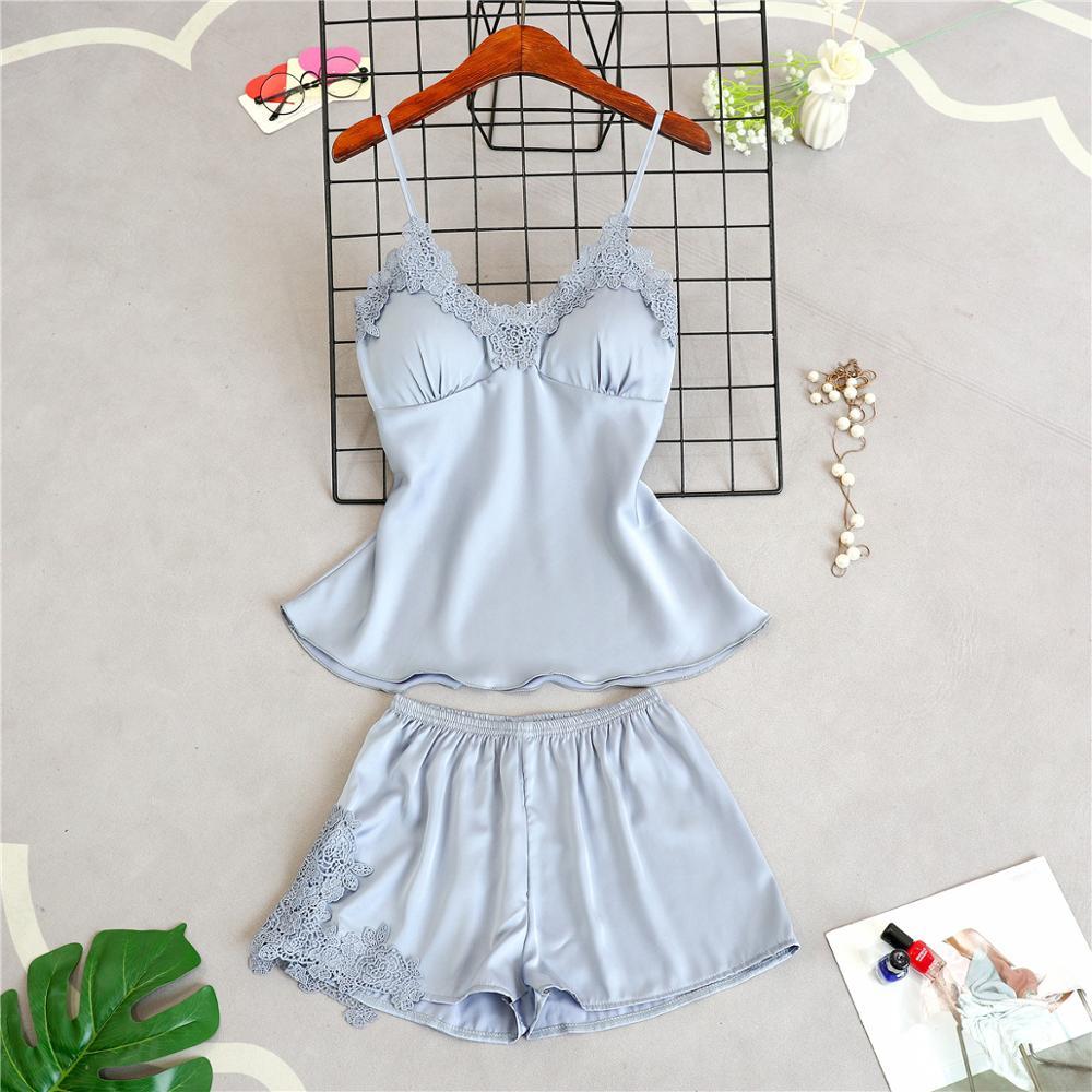 Женские пижамы, 5 шт., атласная пижама, шелковая Домашняя одежда, домашняя одежда, вышивка, Пижама для сна, для отдыха, пижама с нагрудными накладками - Цвет: gray A