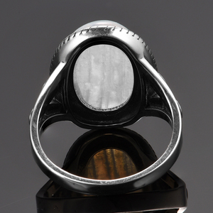 Image 5 - טבעי מונסטון טבעות לנשים של כסף 925 תכשיטי בציר מסיבת טבעות עם 11x17MM גדול סגלגל חן מתנות סיטונאי
