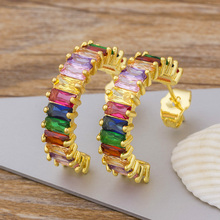 Hot Sale Colorful Micro Pave CZ Earrings For Women Bohemian Gold Color Rainbow Crystal Stud Earrings Female Fashion Jewelry Gift new fashion delicate cute gold cz zircon crystal round stud earrings rainbow color romantic love earrings for women girls gift