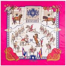 130センチメートルツイルシルクスカーフ馬印刷ビッグスクエアスカーフ女性バンダナ高級ブランド女性のためのスカーフスカーフラップecharpe