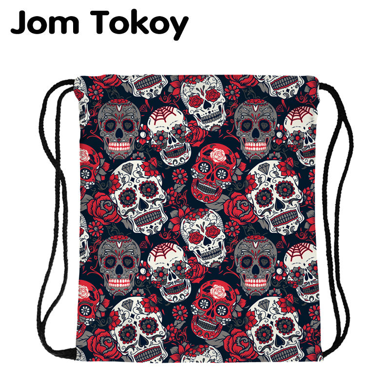 JomTokoy New Fashion  Skull Printing Drawstring Bag Women Polyester String Drawstring BackPack
