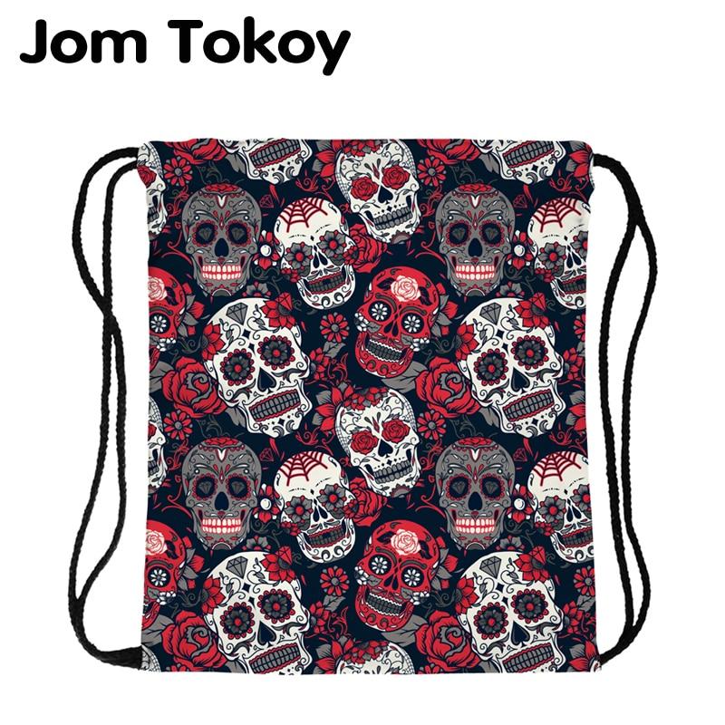 JomTokoy New Fashion  Skull Printing Drawstring Bag Women Polyester String Drawstring BackPack