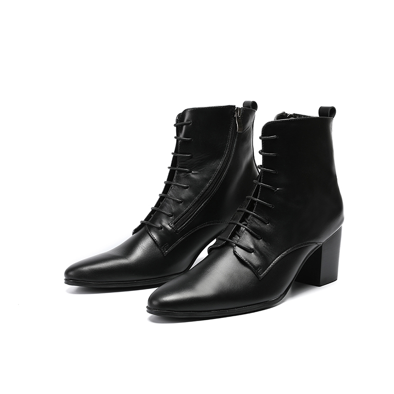 Men Fashion Ankle Dress Boots Pointed Toe High Heel Lace-up Zip Leather Oxford Shoes For Men Wedding Shoes Big Size 46