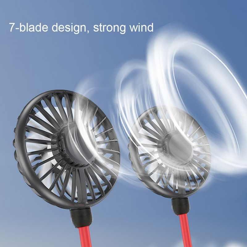 Miniventilador USB de 7 aspas, ventilador portátil recargable para cuello, ventilador deportivo pequeño, Enfriador de aire acondicionado de mano de escritorio Usb