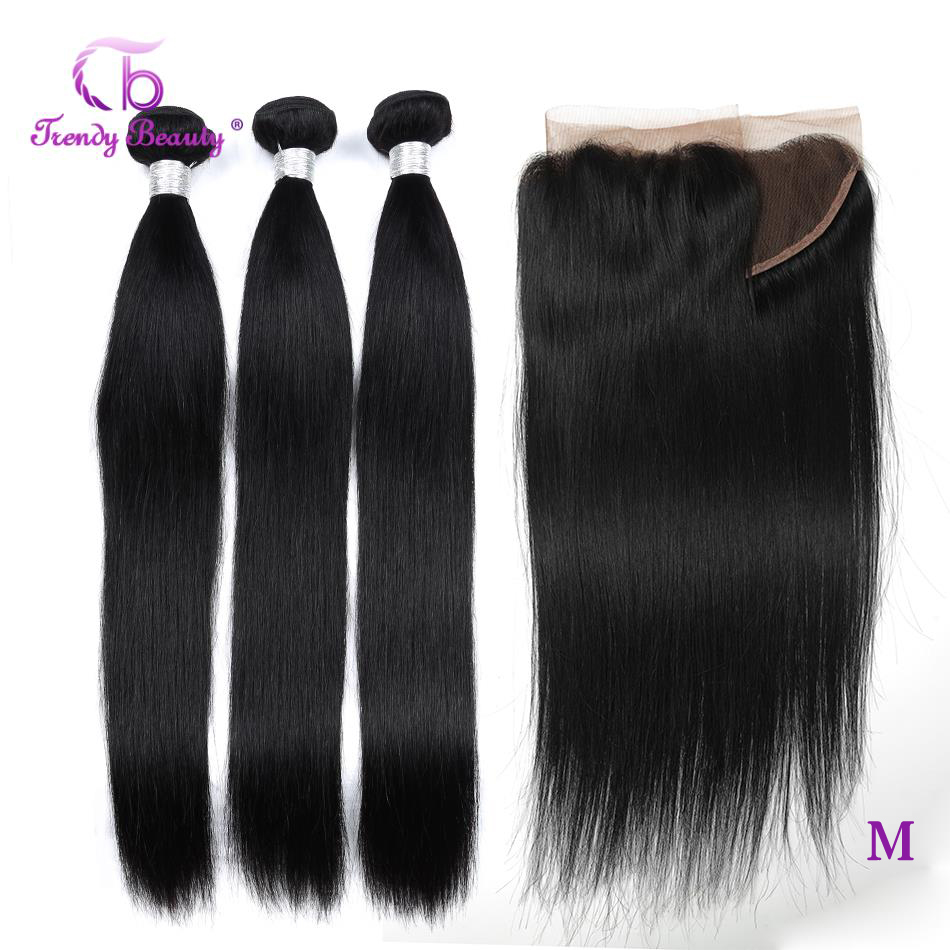 Trendy Beauty Peruvian Straight Hair Bundles With Frontal 13x4 Inches Non-Remy Human Hair Bundles With Closure 8-28 Inches