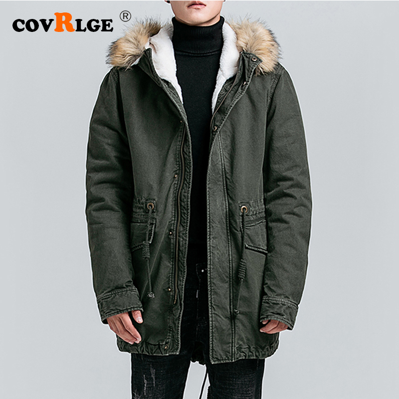 Covrlge 2019 Top Quality Warm Men's Warm Winter Jacket Windproof Casual Outerwear Thick Medium Long Coat Men Parka MWM096