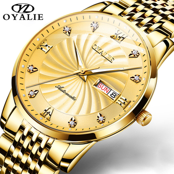 OYALIE Men Watches Stainless Steel Top Brand Luxury Sport Chronograph Mechanical Business Watch Men Gold Relogio Masculino loreo luxury men watch business men s mechanical watches self winding men sport water wristwatch relogio automatico masculino