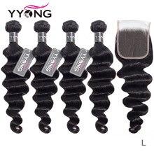 Yyong saç 3 / 4 brezilyalı gevşek derin dalga demetleri ile kapatma % 100% Remy insan saçı örgüsü demetleri ile dantel kapatma boyalı