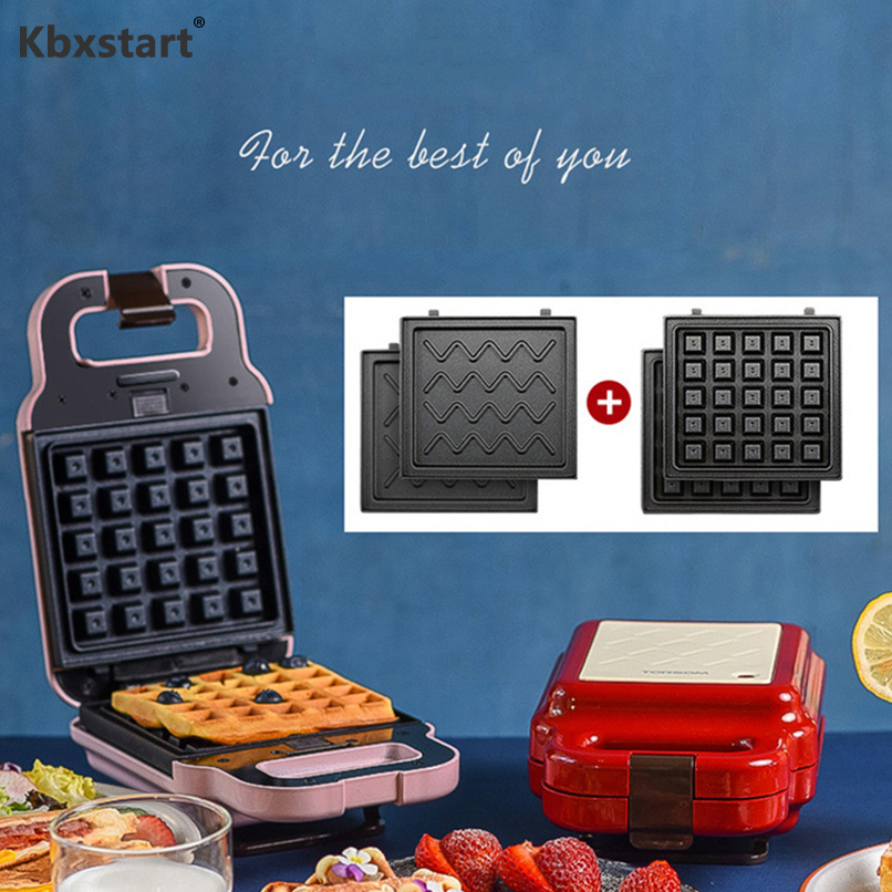 220V Electric Sandwich Maker Can Change Waffle Baking Tray Home Multi-function Non-stick Breakfast Cake Machine image