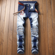 Autumn & Winter  Men Jeans Skeleton Pattern Embroidery Men Jeans Destroyed Straight Jeans Pants Plus Size Men Jeans Trousers men destroyed jeans
