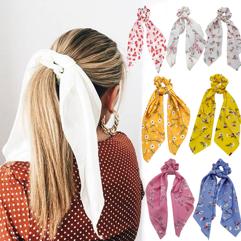 Floral Print Women Hair Scarf Scrunchie Bohemian Elastic Hairband Bow Hair Rubber Ropes Hair Ties Ponytail Holder Accessories