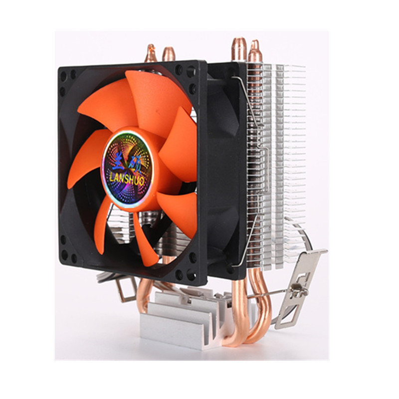 8cm Mini <font><b>CPU</b></font> <font><b>Cooler</b></font> 2 Heatpipes PC <font><b>CPU</b></font> <font><b>Cooler</b></font> Heatsink Computer Cooling Fan for LGA 775/1155/<font><b>1156</b></font> AMD AM2 AMD3 image