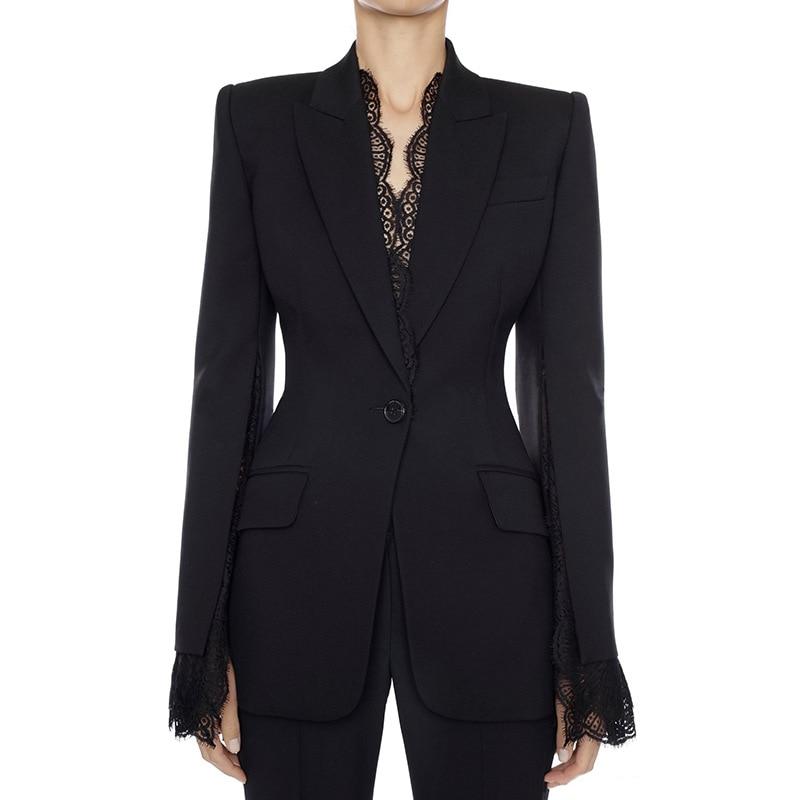 HIGH QUALITY Office Ladies Blazer Jacket Female 2019 Autumn Winter New Split Lace Sleeves One Button Black White Women Blazer