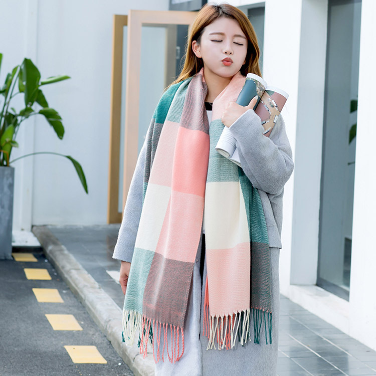 Korean-style Autumn And Winter New Style Large Grid Scarf Men And Women Students Couples Faux Cashmere Tassels Plaid Scarf Shawl