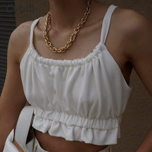 Cybill White Summer Tank Women Top Lace Up Casual Crop Top Yellow Beach Holiday Off Shoulder Top Lady Clothing
