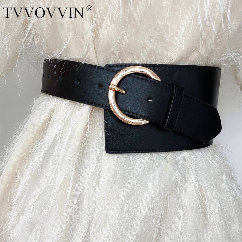 TVVOVVIN Tilt Buckle Temperament Wild Wide Girdle Women Fashion Elegant 2019 Autumn Geometrical Pattern Buckle Cummerbunds L559