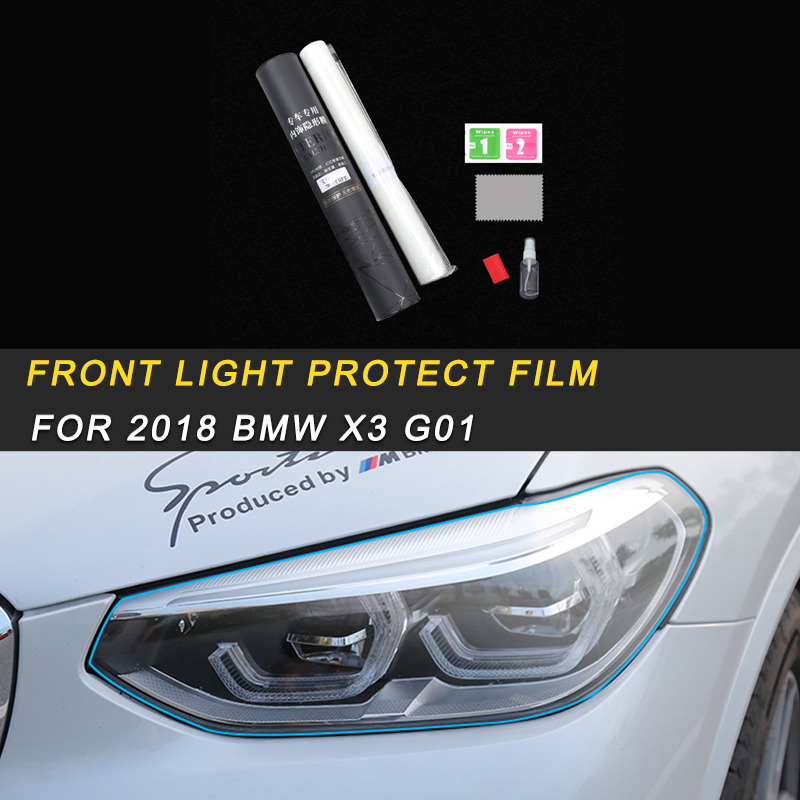 For 2018 <font><b>BMW</b></font> <font><b>X3</b></font> <font><b>G01</b></font> X4 G02 Car Front Light Lamp Headlight <font><b>Protector</b></font> Films Cover Trim Stickers Exterior Accessories image