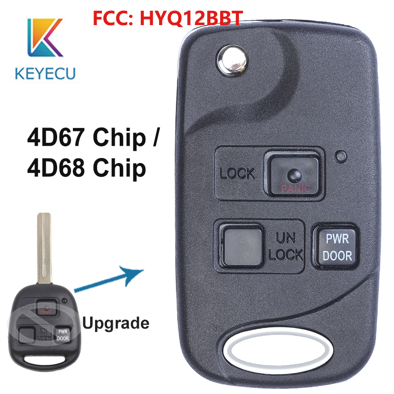 KEYECU Modified Flip Remote Car <font><b>Key</b></font> With 3 Buttons 4D67/ 4D68 Chip 314.4MHz FOB for <font><b>Lexus</b></font> RX330 <font><b>RX350</b></font> RX400h RX450h FCC:HYQ12BBT image