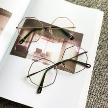 Korean High Quality Computer Glasses Frame Women Men Alloy Reading Polygon Eyewear Gaming Fake Eyeglasses for Women UV400