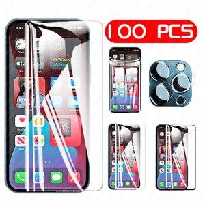 Image 1 - 100/10PCS vetro temperato HD/nero/bianco/idrogel acceso per Iphone 11 12 PRO MAX protezione dello schermo X XR XS MAX 6 7 8 Plus vetro dellobiettivo