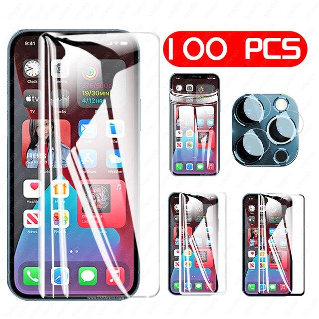 100/10PCS vetro temperato HD/nero/bianco/idrogel acceso per Iphone 11 12 PRO MAX protezione dello schermo X XR XS MAX 6 7 8 Plus vetro dellobiettivo