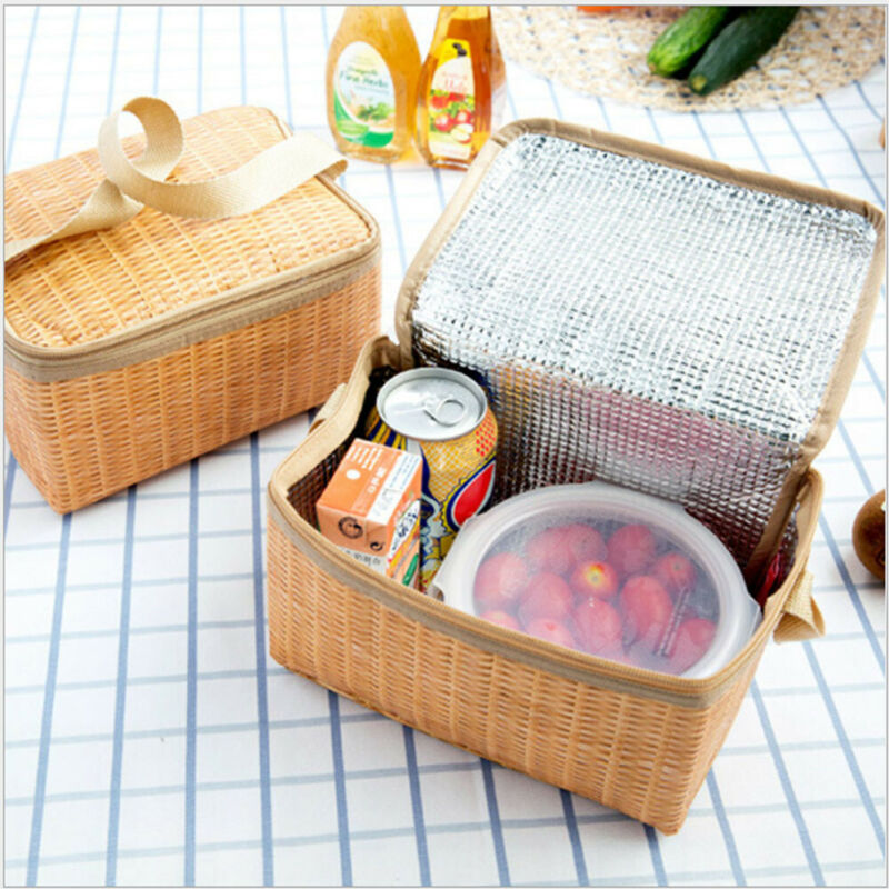 Portable Insulated Thermal Cooler Lunch Box Carry Tote Picnic Case Storage Bag Adult Kid Work School Travel Bento Bag