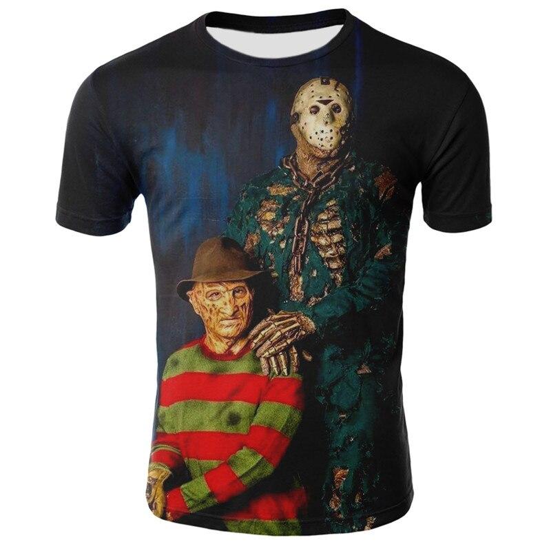2019 Summer Horror Skull Clown 3d Short Sleeve O-Neck T-Shirt Men's Casual Hip-Hop T-Shirt Fashion Harajuku Street Trend