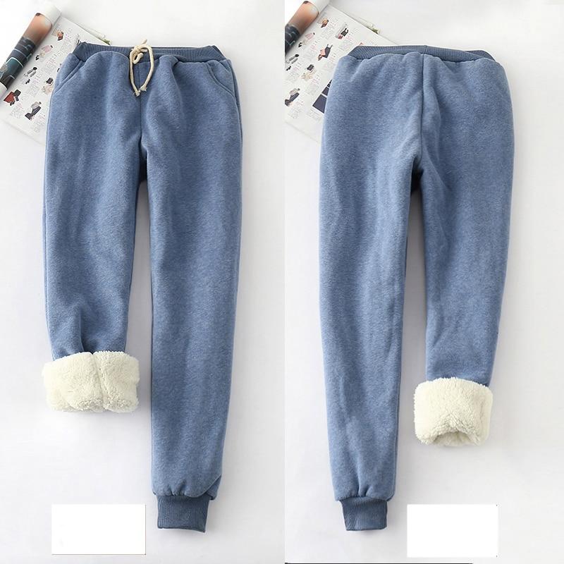 2019 Autumn Winter Women Fleece Sweatpants Trousers Candy Color Casual Thick Velvet Cashmere Sweatpants Tracksuit Pants M-2XL