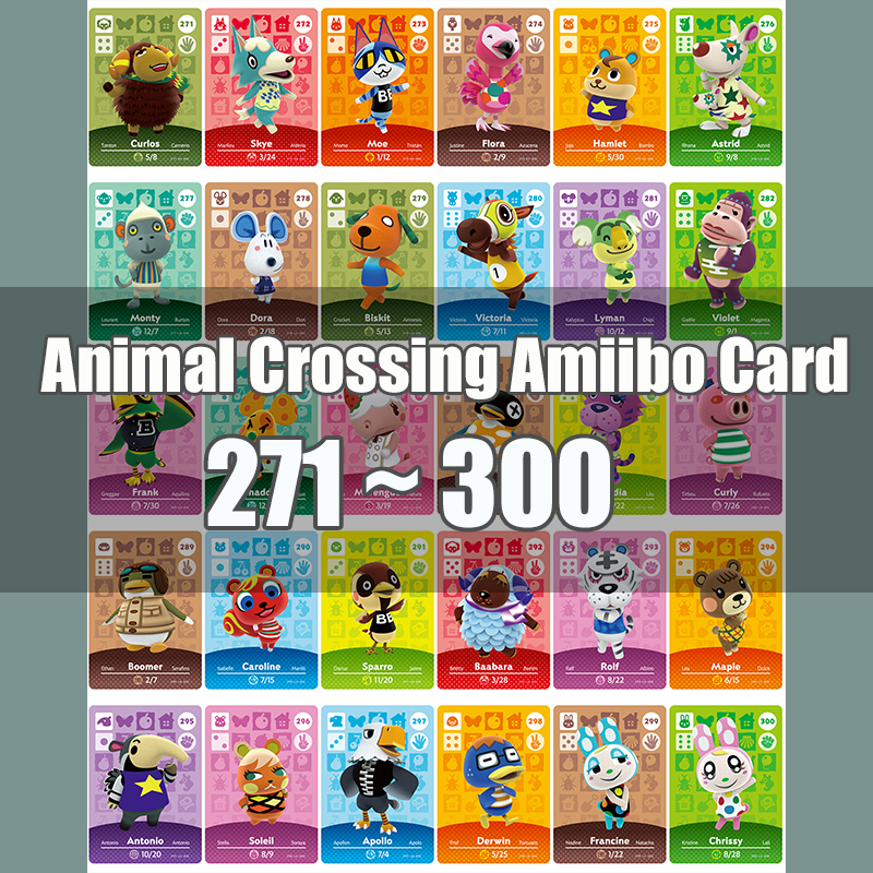 Animal Crossing Amiibo Card Animal Crossing New Horizons Game NFC Lobo Card Work For NS 3DS Game Switch Series 3 (271-300)