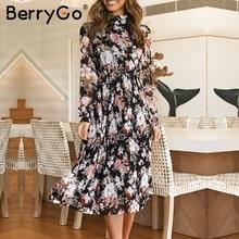 BerryGo Sexy floral print boho dress Ruffled autumn loose long sleeve dress Elegant office lady stand collar long party dress
