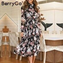 Berrygo Sexy Bloemenprint Boho Jurk Ruches Herfst Losse Lange Mouw Jurk Elegant Office Lady Stand Kraag Lange Party Dress
