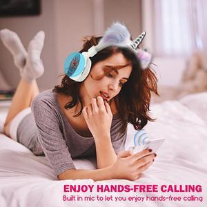 Image 3 - JINSERTA 2020 Unicorns Headphones Kids Headphone Wireless Bluetooth Stretchable Earphone Foldable Stereo Music Cartoon Headset