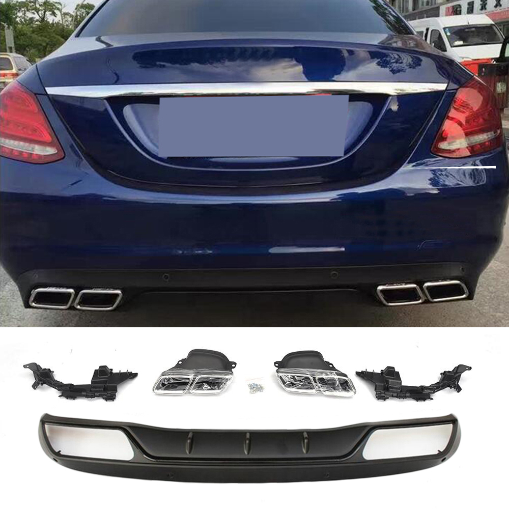 PP Auto Rear Diffuser With Exhaust Muffler For Mercedes Benz C Class W205 C200 C250 Sedan 4-Door 2015-2017 Non Sport/Non C63 AMG image