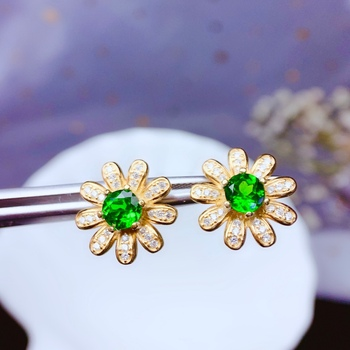 shilovem 925 sterling silver  Natural diopside stud earrings fine Jewelry women trendy wedding gift new 5mm be0505966agt