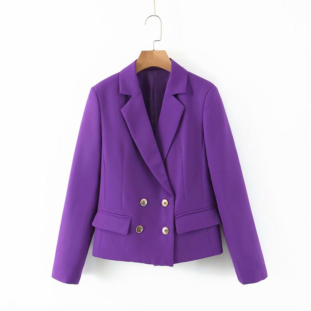 New 2020 Women Fashion Purple Blazers Notched Collar Long Sleeve Pockets Double Breasted Coats Female Office Wear Tops CT391