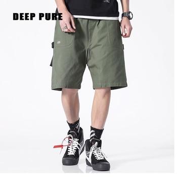 цена на green shorts men summer knee length drawstring waist pocket decorative tape design Fashion shorts green black
