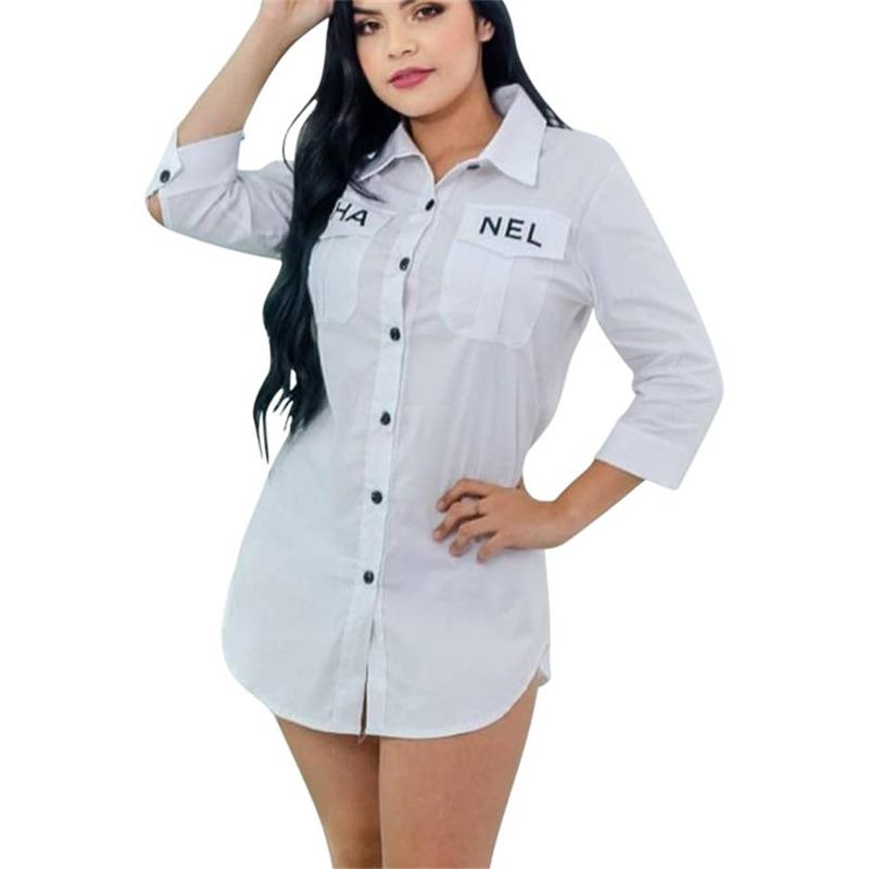 Fashion Autumn Streetwear Femme Black White Single Breasted Long Shirt Turn Down Collar Three Quarter Sleeve Blouses