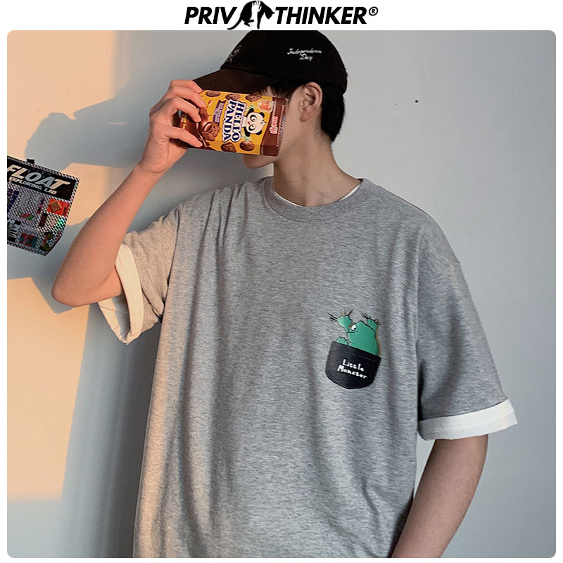 Privathinker Men's Korean Unisex Summer Tshirt Male Korean T-Shirts Men Short Sleeve Streetwear Printed T-shirts Clothes 2020