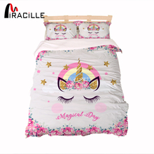 Miracille Cartoon Unicorn 3D Comforter Bedding Set For Kids Pink Glitter Duvet Cover Bed Sets With Pillowcase