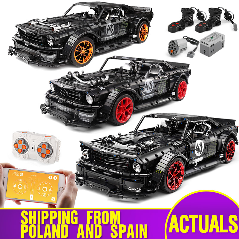 20102 Technic Car 1965 Fords Mustang Hoonicorn V2 Compatible With Legoing MOC-22970 Muscle Car Building Blocks Kids Toys Gifts