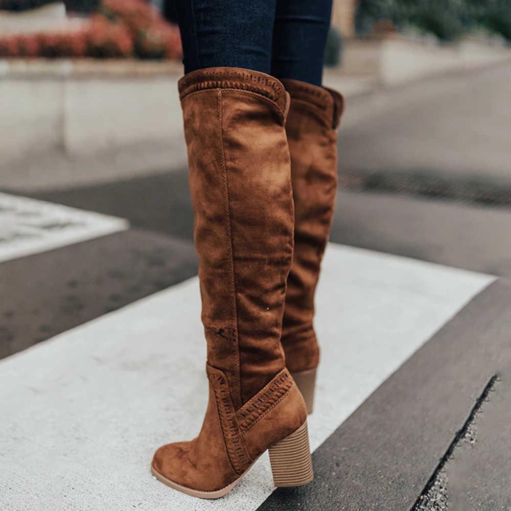 Laamei ฤดูหนาว Warm Fur เข่ารองเท้าส้นสูงผู้หญิงรองเท้าส้นสูงสุภาพสตรียาวสีดำซิปหนังนุ่มรองเท้าผู้หญิง
