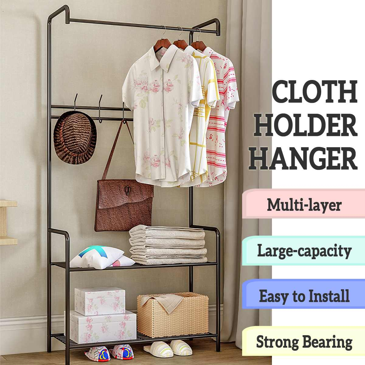 Coat Rack Landing Clothing Holder Hanger Floor Standing Storage Shelf Clothes Hanger Racks Simple Style Bedroom Furniture