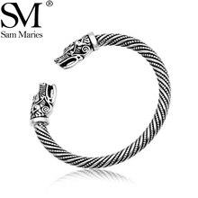 Brazalete Vintage de boca abierta con cabeza de dragón, brazalete de vikingo nórdico, joyería tallada con patrón trenzado de plata antigua