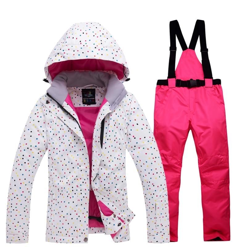 Thicken Warm Women's Ski Suit Waterproof Windproof Skiing And Snowboarding Jacket Pants Set Female Snow Costumes Outdoor Wear