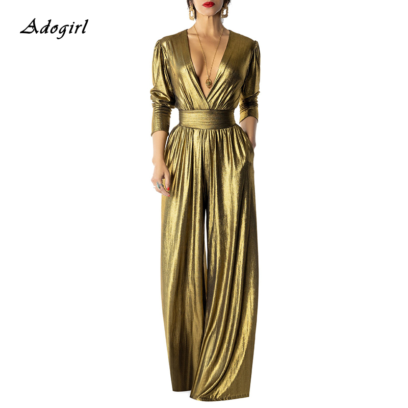 Adogirl Elegant Glitter Wide Leg Pants Jumpsuit Women Sexy Deep V Neck Long Sleeve Ruched With Pockets Party Romper Club Outfits