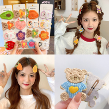 2 Pcs Hairpin sets New girl cute cartoon teddy bear butterfly Flowers fruit side top clip Cute baby exquisite Headdress